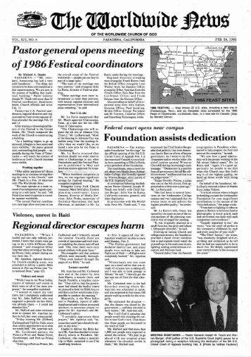 of1986?Festivalcoordinators - Herbert W. Armstrong