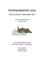 Ferienspielaktion 2013 - Stadt Herbolzheim