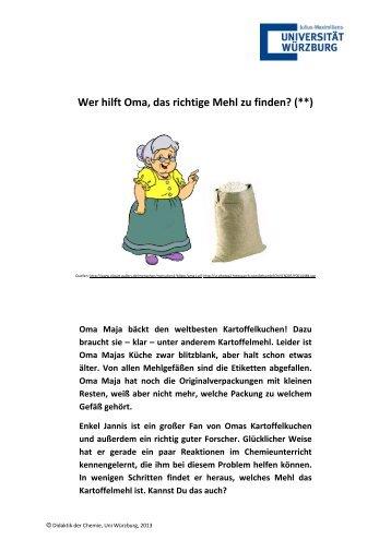 Wer hilft Oma, das richtige Mehl zu finden? (**) - Didaktik der Chemie