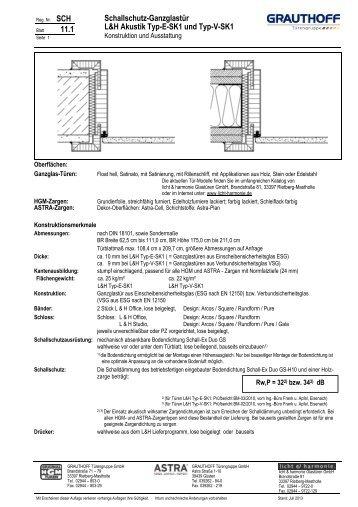 11.1 Schallschutz-Ganzglastür L&H Akustik Typ-E-SK1 ... - Grauthoff