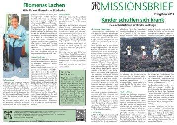 Missionsbrief Pfingsten 2013 - Missionszentrale der Franziskaner
