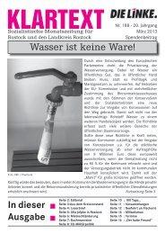 In dieser Ausgabe Wasser ist keine Ware! - DIE LINKE. Rostock