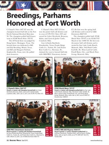 Breedings, Parhams Honored at Fort Worth