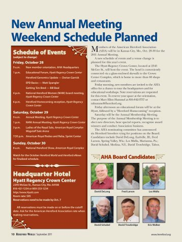 New Annual Meeting Weekend Schedule Planned - American ...