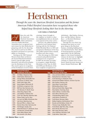 Herdsmen - American Hereford Association