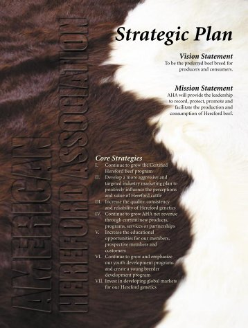 Strategic Plan Vision Statement - American Hereford Association