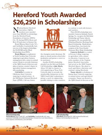 Hereford Youth Awarded $26,250 in Scholarships - American ...