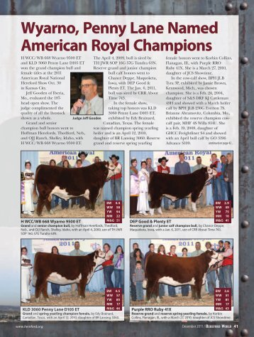 Wyarno, Penny Lane Named American Royal Champions