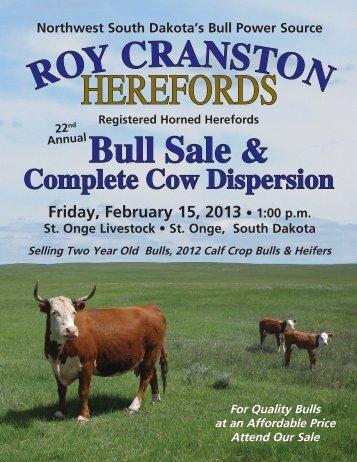 2013 Cranston Herefords Sale Catalog... - Hereford America
