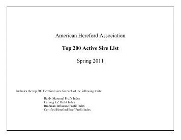 American Hereford Association Top 200 Active Sire List Spring 2011