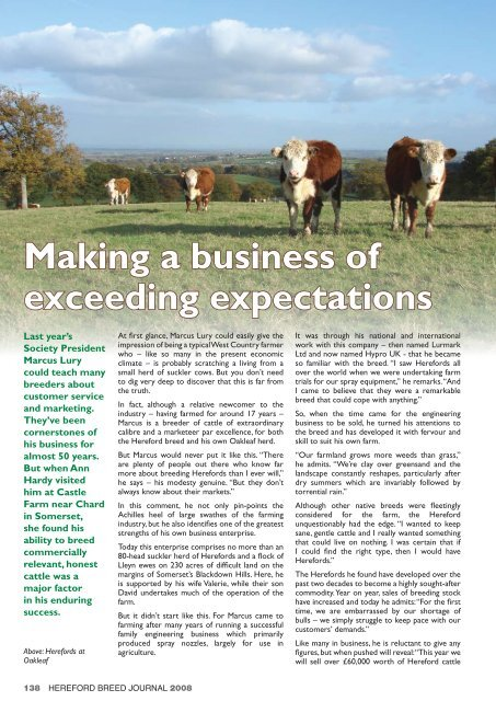 Making A Business Of Exceeding Expectations Hereford