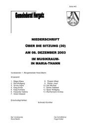 Protokoll der Sitzung Nr. 30 vom 08. Dezember 2003 - Gemeinde ...