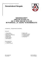 Protokoll der Sitzung Nr. 70 vom 10. April 2006 - Gemeinde Hergatz