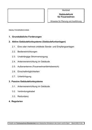Gebäudefunk für Feuerwehren 1. Grundsätzliche ... - B Schmitt