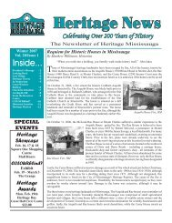 Volume 20, Issue 1 - Heritage News Winter 2007