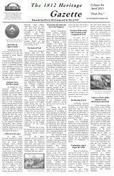 The 1812 Heritage Gazette - Volume Six - April 2013