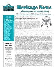 Fall 2008 Newsletter - Heritage Mississauga