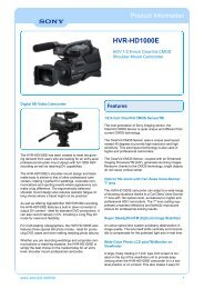 Sony : odwp.product information.title : HVR-HD1000E ...