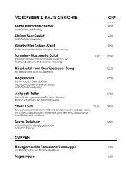 Speisekarte - Gasthaus Degen Hünenberg
