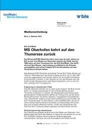 MS Oberhofen kehrt auf den Thunersee zurück - BLS