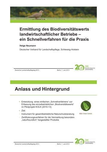 Ermittlung des Biodiversitätswerts landwirtschaftlicher Betriebe