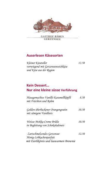 Winterdessertkarte - Best of Swiss Gastro