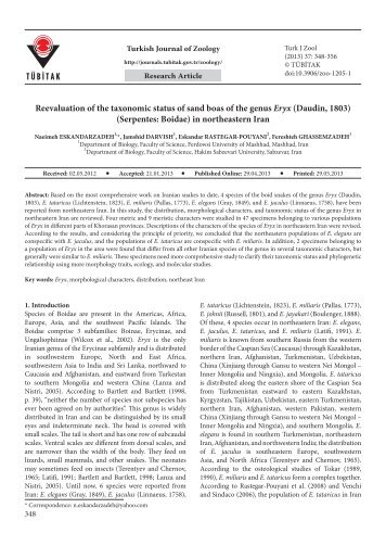 Reevaluation of the taxonomic status of sand boas of the genus Eryx ...