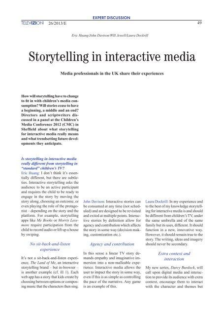 Storytelling in interactive media - Bayerischer Rundfunk