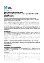 Behandling med Gemcitabin Forebyggende ... - Herlev Hospital