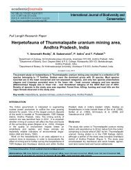 Herpetofauna of Thummalapalle uranium mining area, Andhra ...