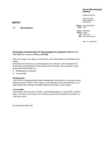 Hygiejniske forholdsregler for hjemmepleje ved ... - Herlev Hospital