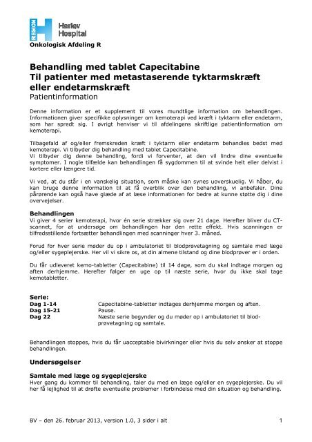 Behandling med tablet Capecitabine Til patienter ... - Herlev Hospital