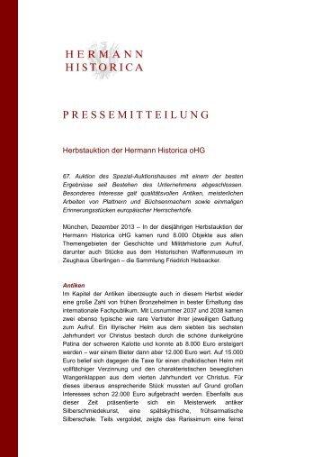 Pressemitteilung Ergebnisse Herbstauktion - Hermann Historica