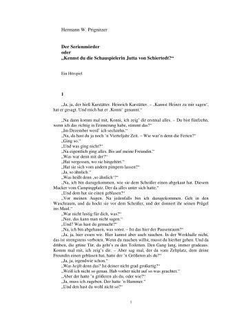 """Hermann W. Prignitzer Der Serienmörder oder """"Kennst du die ..."""