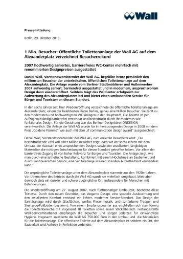 1 Mio. Besucher: Öffentliche Toilettenanlage der Wall AG auf dem ...
