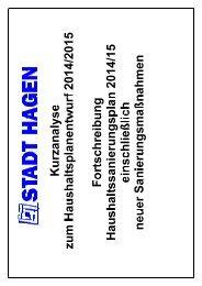 Haushaltsplanentwurf 2014/2015 - Hagen