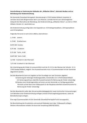 """Ausschreibung zur Sanierung des Gebäudes der """"Ahlbecker Gören ..."""