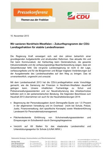 Sprechzettel zum Pressegespräch mit Karl-Josef Laumann und ...