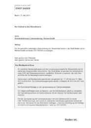 Gemeindestrassen Lärmsanierung; Rahmenkredit ... - Stadt Baden