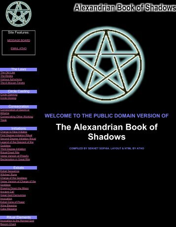 Public Domain Alexandrian Book of Shadows