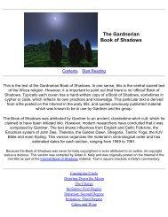 Gardnerian Book of Shadows index