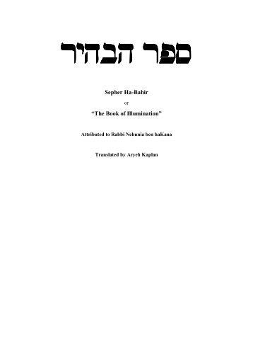 "Sepher Ha-Bahir ""The Book of Illumination"""