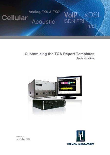 Customizing the TCA Report Templates - Hermon Labs