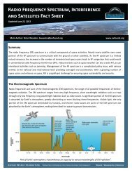 Radio Frequency Spectrum, Interference and Satellites Fact Sheet