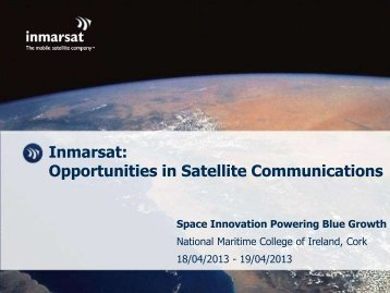Inmarsat: Opportunities in Satellite Communications