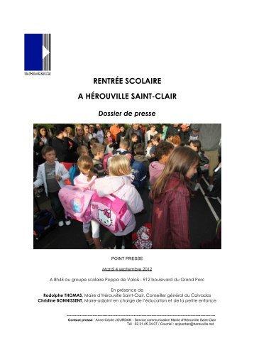 RENTRÉE SCOLAIRE A HÉROUVILLE SAINT-CLAIR Dossier de ...