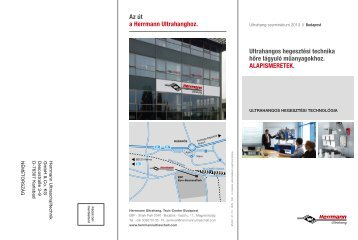 Az út a Herrmann Ultrahanghoz. Ultrahangos hegesztési technika ...
