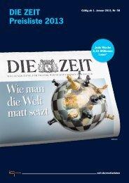 DIE ZEIT Preisliste 2013 - IQ media marketing