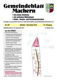Amtsblatt Nr. 227 Oktober 2013 - Gemeinde Machern