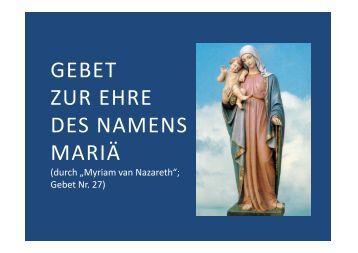 Gebet zu Ehren des Namens Mariä - Herzmariens.de
